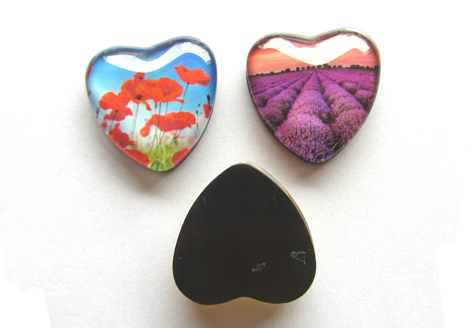 D35mm heart glass magnet