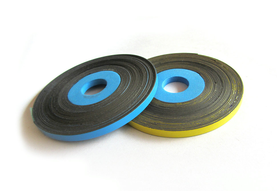 Magnetic strips with colored PVC